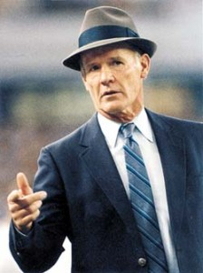 Dallas Cowboys football coach Tom Landry.    Photo from 1990